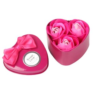 3 Pcs Pack Heart Scented Bath Body Petal Rose Flower Soap Wedding Decoration Gift Best artificial roses lilac flowers NEW