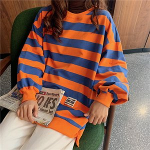 Super fire cec sweatshirt female stripes 2019 Korean version ins loose bf lazy wind waitmore thin section early autumn coat Y200706