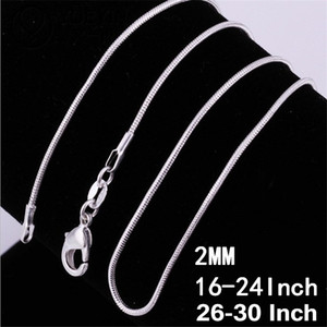 2MM 925 Sterling Silver Snake Chains Choker Necklaces Men Charm Jewelry Making Accessories Fashion Women Lobster Clasp Chain 16 18-24-30Inch
