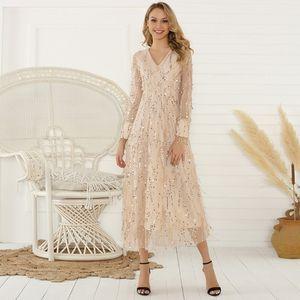 섹시한 V 목 저녁 여성 맥시 드레스 우아한 메쉬 긴 소매 장식 조각 밤 드레스 가을 레이디 파티 드레스