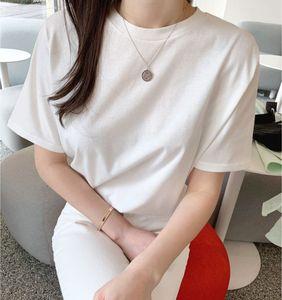 2020 South Korean same women's comfortable loose show thin round neck white short sleeve T-shirt women's bottoming top