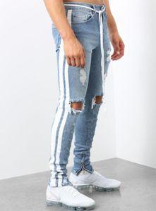 Pantaloni da uomo con i fori Jeans aderenti Europa e in America Export piede Bocca Zip tessitura nastro taglio dritto pantaloni lunghi