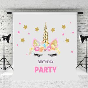 Sogno 5x7ft Unicorn Birthday Party Photography Sfondo Golden Banner Pink Flower Decor Sfondo per Baby Shower Photo Booth Studio Prop