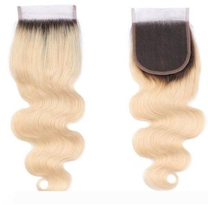 Platinum Blonde Ombre 1b 613 Body Wave Lace Closure with Baby Hair Bleached Knots Remy Human Hair 4x4 Lace Closures