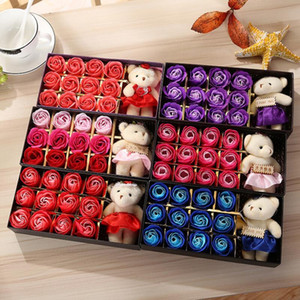 Romantic Rose Soap Flower With Little Cute Bear Doll 12pcs Box Gift For Valentine Day Gifts for Wedding Gift or birthday Gifts LX9319