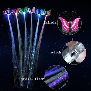 Color LED luminous bow flash wig braids butterfly clip hairpin display new year party Christmas decoration supplies