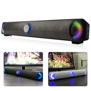 Smalody senza fili Bluetooth Speaker Soundbar Subwoofer con colorati effetti di luce a LED Computer altoparlante stereo lampada luminosa bar TV Suono