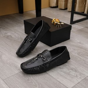 British New Mens Casual Loafer Fashion Genuine Leather Tassel Slip On Leisure Shoes Alligator Pattern Flats For Driver Moccasin 38-45 LR02