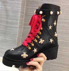 Bottes talon piste automne hiver femme Bottines Chaussures en cuir véritable Flats Slip Femme Martin Bottes à court design piste Ladies bottillons