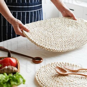 Corn fur woven Dining Table Mat Heat Insulation Pot Holder Round Coasters Coffee Drink Tea Cup Table Placemats