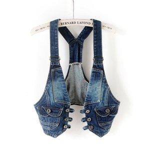 Women's Newest Fashion Spring Autumn Sleeveless Denim Vest Female Casual Jeans Waistcoat Ladies Sweet Vests LWL577