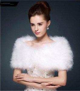 Wedding fur cape Luxurious ostrich feathers camel Fur Boleros wedding bride White ivory shrug bridal party shawls bolero