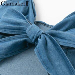 Großhandels-Glamaker Denim dünnes aushöhlen midi sexy Kleid Frauen-Sommer-Bogen elegant Partykleid Weibliche lange rückenfrei bodycon Jeans Krawatte