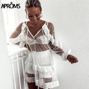 Aproms Элегантный белый шнурок сетки крючком Пляжная платья лета женщин Sexy длинным рукавом Узелок Сыпучие пляж платья 2020 Vestidos