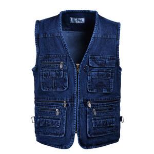 Mens Denim Coletes Coats Plus Size Vest Jeans multi bolso Fotografia Denim mangas Jacket Blusas Masculinas