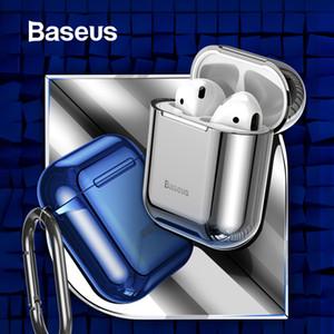에어 포드 분실 방지 스포츠 후크 2019 AirPods에 대한 Baseus 광택 빛나는 도금 케이스 2 1 휴대용 이어폰 보호 케이스