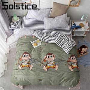 Solstice Home Textile King Queen Twin Full Bedding Set Monkey Cartoon Boy Kid Girls Bed Linens Duvet Cover Pillowcase Flat Sheet