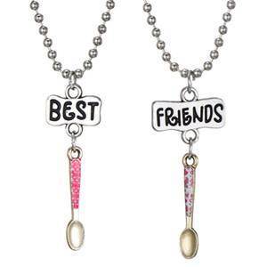 """2 unids / par """"mejores amigos"""" niños collares cuchara colgante collar de los niños para los niños amistad BFF collar de la joyería"""