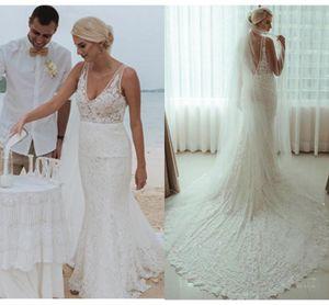 Beach Wedding Dresses Boho Deep V Neck Sexy 2020 Full Lace Robes De Mariee Mermaid Court Train Backless Bohemian Bridal Gowns AL6231
