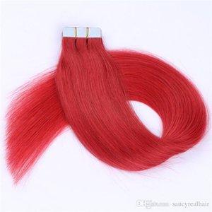 120g 60pcs 2.5g Stück 16 18 20 22 Zoll Kleber-Haut-Schuss PU-Band in den Menschenhaar-Erweiterungen färben purpurrotes 613 # Rot
