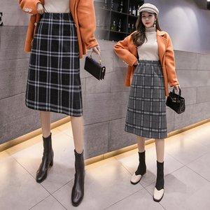 Elástico de la falda de cintura alta faldas para mujer coreana de la tela escocesa de las mujeres heterosexuales falda ocasional de las mujeres de moda faldas de las mujeres del otoño del invierno