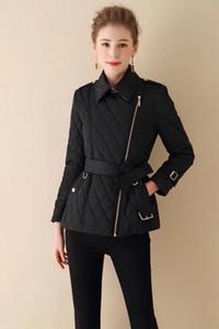 chaqueta de algodón acolchado Sra delgada del color sólido de algodón acolchado chaqueta correa cremallera diagonal capa gruesa señoras rómbicas invierno caliente QQ9REWQRQ ropa