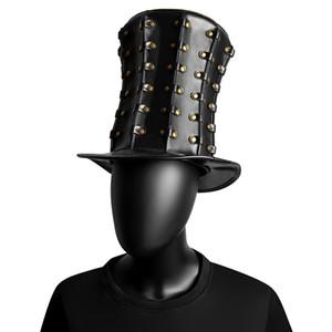 جديد السيدات خمر الأسود قبعة مع المسامير المرأة هايت قبعة Steampunk MenTop هات القوطية زينة حلي منتديات الدعائم بخيل بريم القبعات