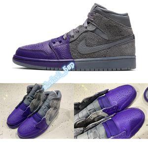 Best Sheila AIR SnakeskinJordanRetro 1 Mid Unite gray purple Women Men Basketball Sports Shoes Sneakers Trainers CW5897-005