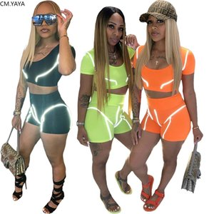 Women Two Pieces Sets Tracksuits Reflective Stripe Tank Tops Short Jogger Suit Sporty Fitness Night Club 2 Pcs Outfit