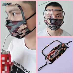 3 в 1 Face Shield Маски Маски против пыли Camo лица моющегося масла Защитной маски Пейте рот маску для лица с отверстием или молнией CCA12291 100шта