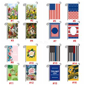 Donald Trump 2020 Garden Flag 30 * 45CM Banderas impresas de doble cara USA American Star Banderas a rayas bienvenido equipo flor Banner LJJA2935
