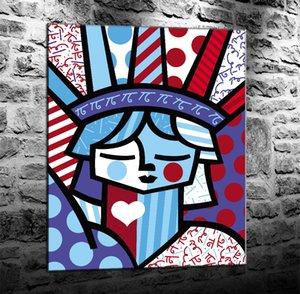 Romero Britto Nueva York, Pintura Lienzo de impresión de alta definición Nueva decoración del hogar Arte / (Sin marco / capítulo)