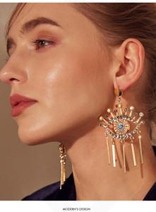 Moda-Avrupa ve Amerika matkap kulak Çıtçıt Yaratıcı kalın Altın Püskül küpe ile küpe Fun Göz Küpe abartılı