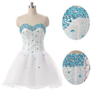 Barato Curto Branco Tule Querida com Contas de Baile Vestidos de Festa Com Contas Vestidos de Baile Custom Made SD094