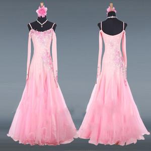 핑크 볼룸 댄스 대회 드레스 여성 댄스 의류 겨울 긴 소매 탱고 왈츠 파티 의상 성능 무대 복장
