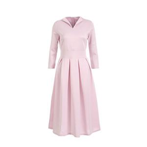 Kadınlar Sonbahar Casual Uzun Kollu Tatil Uzun Maxi Elbise Bayanlar V yaka Akşam Partisi Katı Pembe Yeşil Orta Buzağı Elbise Plus Size