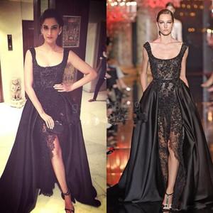 Elie Saab Sonam Kapoor occasione partito abiti sexy nero pizzo perle di cristallo su gonne Split vestiti da sera di Dubai Arabia arabo