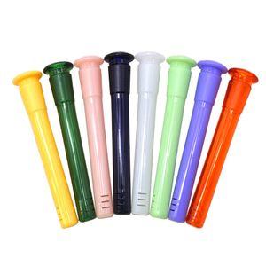 DHL 18 milímetros Masculino a 14mm Feminino Downstem Difusor com plástico colorido para baixo Stem adaptador de cachimbos de vidro Bong água