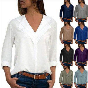 Shirts Women Designer Clothes Plus Size Casual Shirts Solid V Neck Blouses Fashion Slim Tops Long Sleeve Chiffon OL Blusas Vestidos B5710