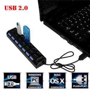 USB 2.0 Çoklu Şarj Hub + Yüksek Hızlı Adaptör 7-Liman ON / OFF Anahtarı Dizüstü / PC USB Şarj