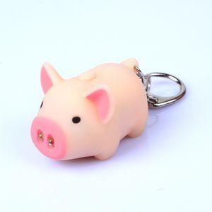 som bonito do porco levou chaveiros lanterna anéis criativa brinquedos dos miúdos porco dos desenhos animados som presente chaveiros luz criança 3 cores Z1049