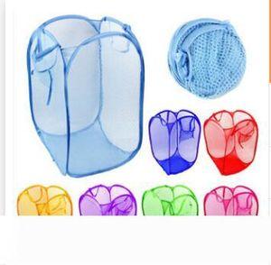 Laundry Basket Bag Foldable Pop Up Washing Clothes Hamper Mesh Storage Children's Toys Shoes Sundries Storage DHL Free Shipping