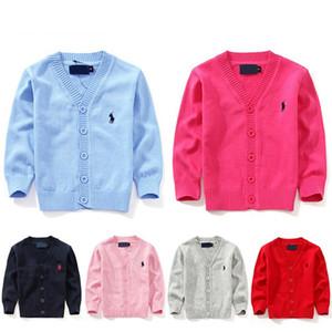 2019 Nueva marca de ropa para niños 100% algodón suéter del bebé Niños de alta calidad prendas de vestir exteriores niña suéter Boy suéter con cuello en v suéteres de polo