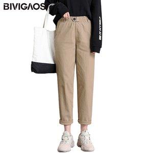BIVIGAOS New Loose Women Pants Casual avó Harem Pants Botão alta cintura reta Macacões Calças da mulher Carga