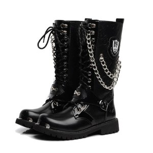 Motocycle Boots Big Size Men Shoes Army Boot High-Top Military Combat Boots Metal Chain Male Moto Punk Shoes 5#20 20D50