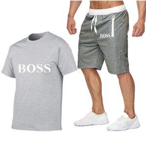 2020 Yaz Seti Erkekler Nedensel Plaj Suits Kısa Kollu 2PCS Eşofman + Şort Moda Eşofman Erkek Spor Suits tişört + Şort