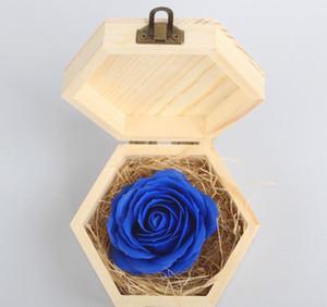 Valentine's Day Present flower with Wood box Lovers Wedding Gift Soap Flower Wooden Box Decoration Gift LJJK19074