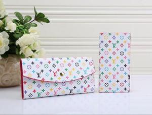 2020 2pcs 1set sin cremallera Monedero de mujer diseñador de lujo de la carpeta de los bolsos del diseñador bolsos embrague de las carpetas el monedero de cuero de 6 colores