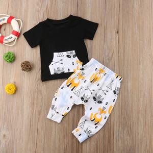2018 Brand New Infant Toddler Baby Boy Outfits Clothes Short Sleeve Tops Pocket Shirt Pants 2pcs Set Children Summer Sunsuit
