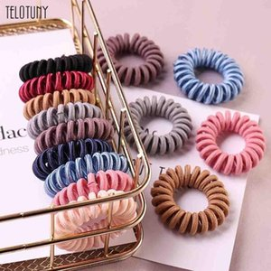 TELOTUNY 9Pcs Fabric Hair Ring Scrunchie Rope Elastic Hair Bands Solid Women Girl Headwear Ponytail Holder Accessories L303